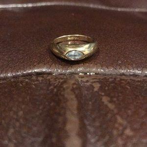 Avon Solitaire Almond CZ Goldtone Ring Size 6